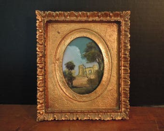 Vintage Italian Florentine Painting and Gold Frame / Gold Picture Frame / Hand Painted Italian Picture