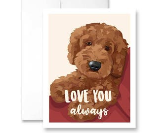 Love You Always with Apricot Doodle - Greeting Card