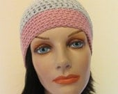 Reserved for Trish - Grey and Pink Beanie