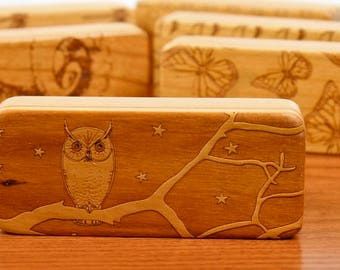 "Owl Stash Box, 5"" x 2"" x 1"", Pattern ST13a, Solid Cherry, Rare Earth Magnets for closure and security, Paul Szewc, Masterpiece Laser"