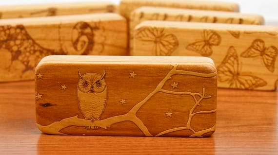 """Owl Stash Box, 5"""" x 2"""" x 1"""", Pattern ST13a, Solid Cherry, Rare Earth Magnets for closure and security, Paul Szewc, Masterpiece Laser"""