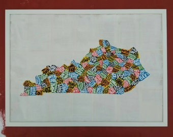 KENTUCKY COUNTY MAP, 70cm X 50cm, hand made map,free postage