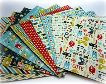 12 6 x 6 Carta Bella Boy Oh Boy Double-sided  Cardstock Papers for Scrapbook Layouts Mini Albums Cards and Papercrafts