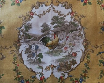 "Kaufmann County Fair French Country Toile Curry Rooster Fabric 64"" X 55"""