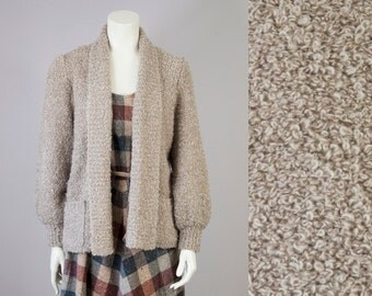 70s Vintage Tan Boucle Knit Cardigan with Bishop Sleeve (M)