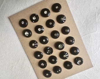 24 Early Plastic Black Buttons with Rhinestone Solitaires for Sewing and Crafts