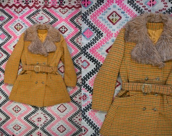 Vintage 1970's 1960's Checkered Wool Button Up Belted Faux Fur Coat Women's Retro Mod Hip Size Medium Fall/Winter