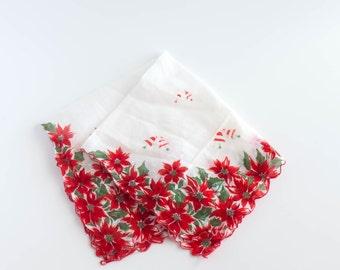Christmas Handkerchief Hankerchief Red Poinsettia  Shabby Decor Cottage Decor Holiday