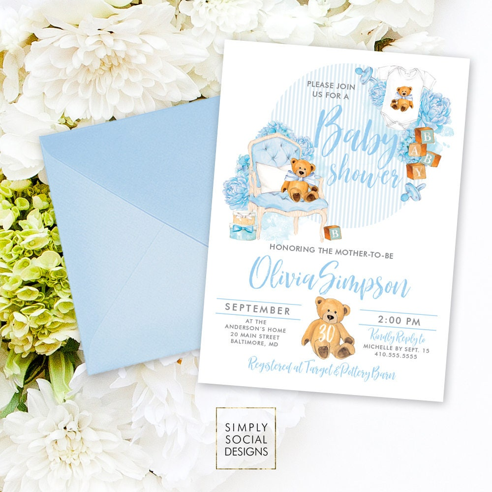 Teddy Bear Baby Shower Invitation - Baby Boy Baby Shower ...