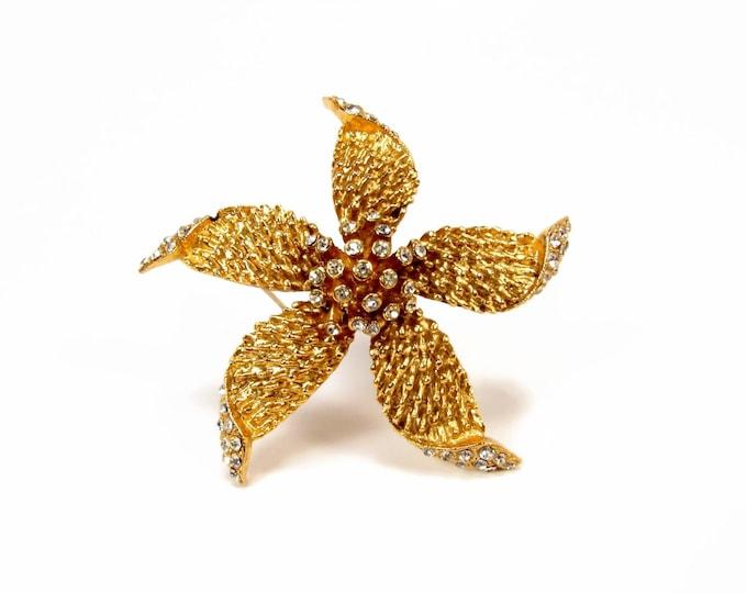 Hattie Carnegie Starfish Vintage Rhinestone Brooch