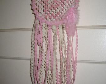 Pink Dreamcatcher//Crochet Dreamcatcher//Boho Dreamcatcher//Dreamcatcher Wall Hanging