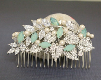 Pacific opal crystal bridal hair accessories,Wedding hair comb,bridal hair jewelry,Wedding hair clip,Bridal headpiece,Wedding comb,Bridal
