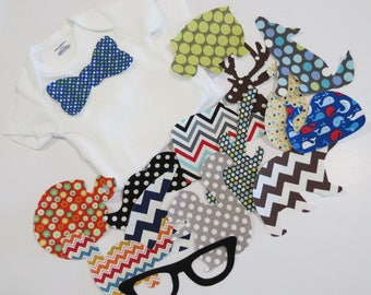 Baby Boy Iron on Applique and Onesie Set Baby Shower Activity Set of 20 Appliques Onesies