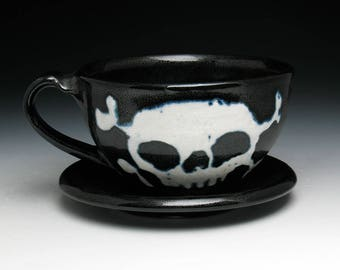 Skull Cup & Saucer, Double Skull and Crossbones Teacup and Saucer in Black and White