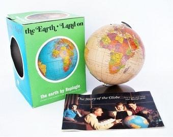 Vintage World Globe Bank Replogle Original Box , Key,  & Booklet