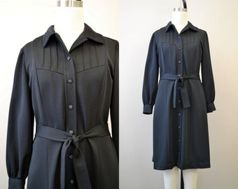 1960s Black Pintuck Dress