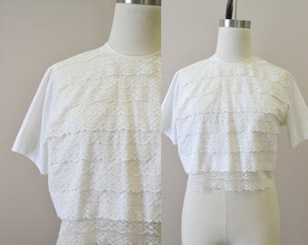 1960s Sweet Adeline Lace Cropped Blouse
