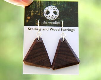 triangle -  walnut - sterling silver and natural wood earrings