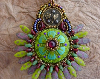 Two Faced Pendant Necklace Mardi Gras