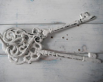 large ornamental keys 2 hanging keys painted white key decorative key distressed decor rusty patina aged french country rustic wedding decor