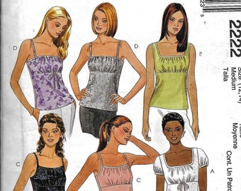 McCall's Easy 2222 Misses Summer Top Blouse Camisole Sewing Pattern Size 12, 14 UNCUT