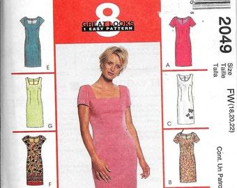 "McCall's 2049 Sheath Dress ""Little Black Dress"" Variations Fitted UNCUT Plus Size 18, 20, 22"