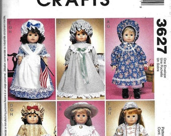 "McCall's 3627 Girl Doll Clothes Pattern 18"" Felicity Early American Colonial"