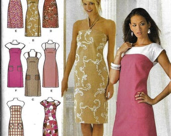 Simplicity 3747 Design Your Own DRESS Halter, Strapless, Short Sleeve Sewing Pattern UNCUT Plus Size 16, 18, 20, 22, 24