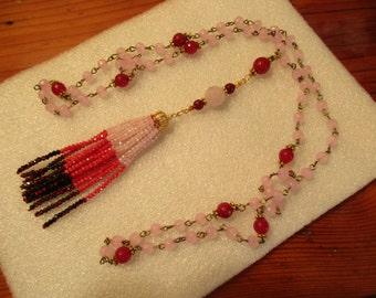 Gorgeous Pink JADE & RUBY Rosary Chain w/Pink Jade, Ruby and Garnet Pendants, 22K Gold Bead Cap and Pink, Garnet, Ruby Crystal TASSEL
