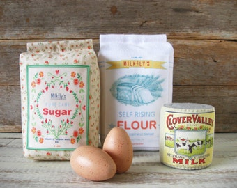 New Felt Food Flour, Sugar, Milk, Eggs Baking Set