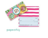 Checkbook Cover, Monogrammed Checkbook Cover, SUNFLOWERS, Personalized Checkbook Cover, Custom Checkbook Cover, Vinyl Checkbook, Preppy