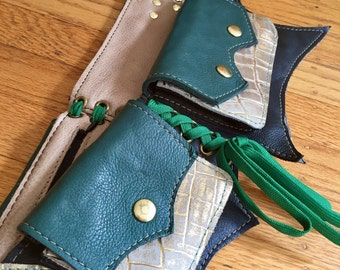 Ready to Ship XS BAT Pocket Belt black forest green gold Burning Man Utility Festival Steampunk Costume cosplay leather goth apocalyptic
