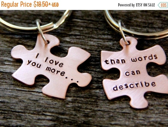 HUGE SALE Gift For Husband / Puzzle Piece / His One Her Only / Anniversary Gift / Hand Stamped Personalized / Valentines Gift Wife/ Wedding