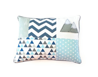 Mountain Patchwork cushion cover - blue ; baby boy pillow, mountain pillow, blue and gray