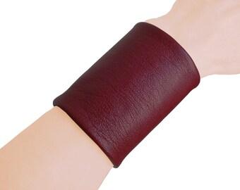 Wide leather cuff - Wrist cuff - Tattoo Cover - BURGUNDY leather cuff - Soft leather cuff - lambskin - Minimalist fashion - Fashion jewelry