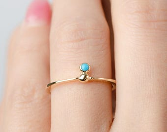 Minimal Floating Turquoise Ring, Gold Vermeil, Sterling Silver, Dainty Stackable Ring, Hand Made, Gift for Her, Lunaijewelry, RNG035TRQ