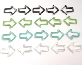 Arrow Paperclips Black Green Blue White Silver Paper Clips