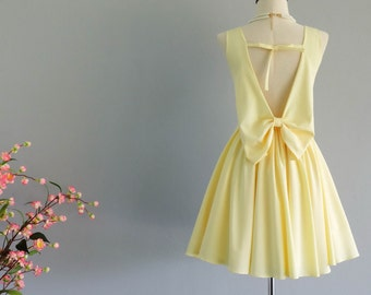 Butter yellow dress yellow party dress backless dress yellow prom dress yellow cocktail dress wedding yellow bridesmaid dresses