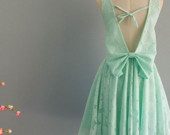 Mint green dress party dress backless dress green lace prom party cocktail dress wedding bridesmaid dress bow back mint bridesmaid dress