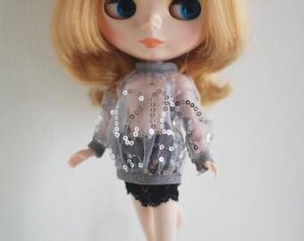 Spangle mesh blouse for Blythe, Licca, 1/6 22cm doll