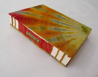 Journal, notebook, batik, A6, fabric, cloth, fire, green, hippie