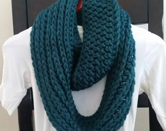 Infinity Scarf Cowl Neckwarmer jade  knit crochet READY TO SHIP