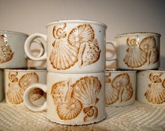 8 Stoneware Seashell Cups by Midwinter Stonehenge