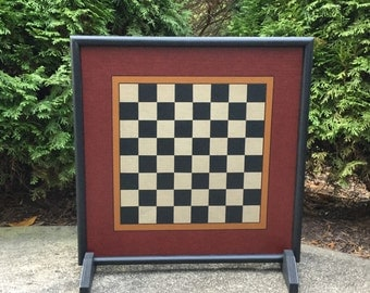 """19"""", Checkerboard, Game Board, Wood, Primitive, Folk Art, Wooden, Checkers, Chess, Board Game, Game Boards, Hand Painted"""