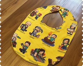 Minecraft Carrer Opportunities Baby Bib, Recycled T-Shirt Baby Bib, Video Games, Baby Boy Gift Baby Shower