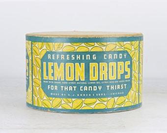 Brach & Sons Lemon Drops Candy Box, Large Lemon Drop Candy Box, Vintage Advertising, Brach Candy Box 1930s, Summer Decor, Vintage Candy Box