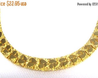 ON SALE Vintage Gold Plated Chain Choker, Necklace with Hearts