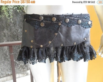 """20%OFF bohemian gypsy belly dance tribal vintage leather. and lace tutu/peplum belt...40"""" to 48"""" waist or hip.."""