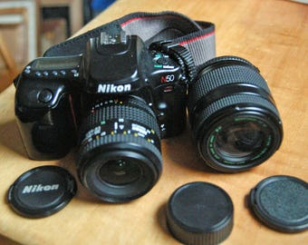 Nikon N50 35mm Auto Focus Camera with Nikon 35-80mm AF Nikkor Zoom Lens & Quantaray AF 70-210mm Zoom Lens