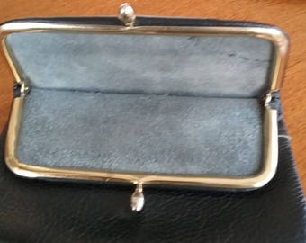 Vintage leather folding clutch with kids clasp and zipper
